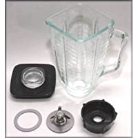 5 Cup Square Top 6 Piece Complete Glass Jar Replacement Set, Fits Oster Blender