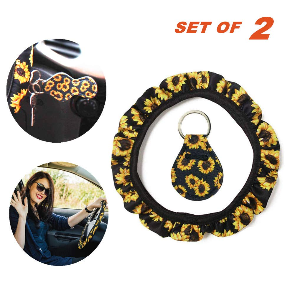 Finebaby Sunflower Steering Wheel Cover Set,Safe Non Slip Neoprene Material Stretch-on Fabric Steering Wheel Cover Universal Fit Sunflower - Set of 2