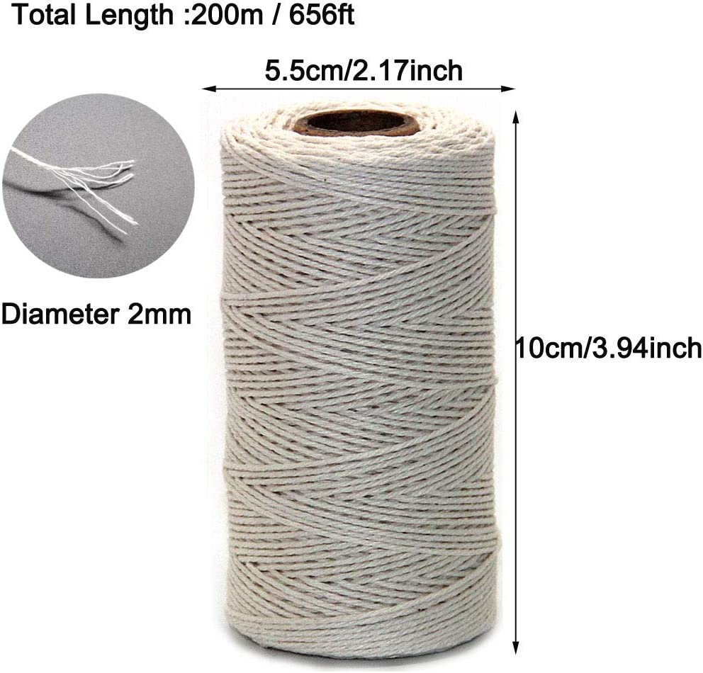 Craft Cotton Thread Bakers Cord for Baking DIY Crafts Enhigh 328 Feet Christmas Twine String 100M,1.5MM Wrapping