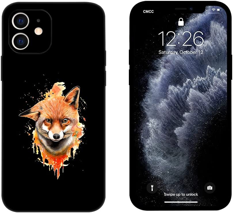 Aianhe Fox Compatible with iPhone 12 Pro Max Case with Design for Boy Men Black Animals Print Pattern Case Silicone Anti-Yellow Anti-Scratch Shockproof Protective Cover iPhone 12 Promax 6.7