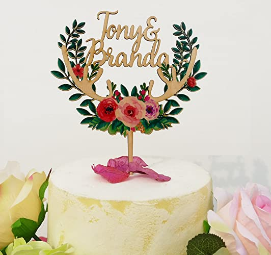 Amazon Com Wood Floral Wreath Cake Topper Personalized