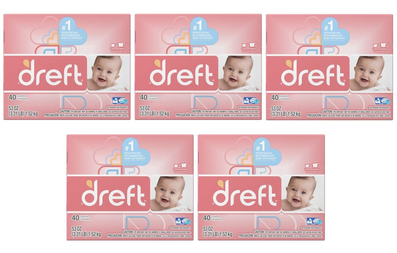 Dreft Baby Original Scent Powder Laundry Detergent,Recommended by Pampers, 40 Loads, 53 oz (Pack of 5)