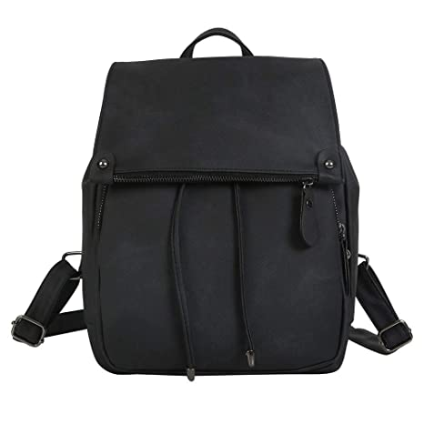 Cinhent Backpacks Soft Leather Casual Small Packet Preppy Style Women  Rucksacks (Black) 6df7c143c612f