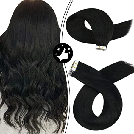 Image ofMoresoo 14Pulgadas/35cm Extensiones de Cabello Natural Adhesivas Tape in Hair Extensions #1 Negro Brasileño Humano Cabello Natural Para Extensiones 40g/20pcs