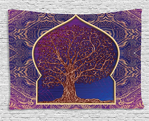 Ambesonne Ethnic Tapestry, Tree with Curved Leafless Branches Middle Eastern Moroccan Arch Retro Art Design, Wall Hanging for Bedroom Living Room Dorm, 80 W X 60 L Inches, Purple Blue -