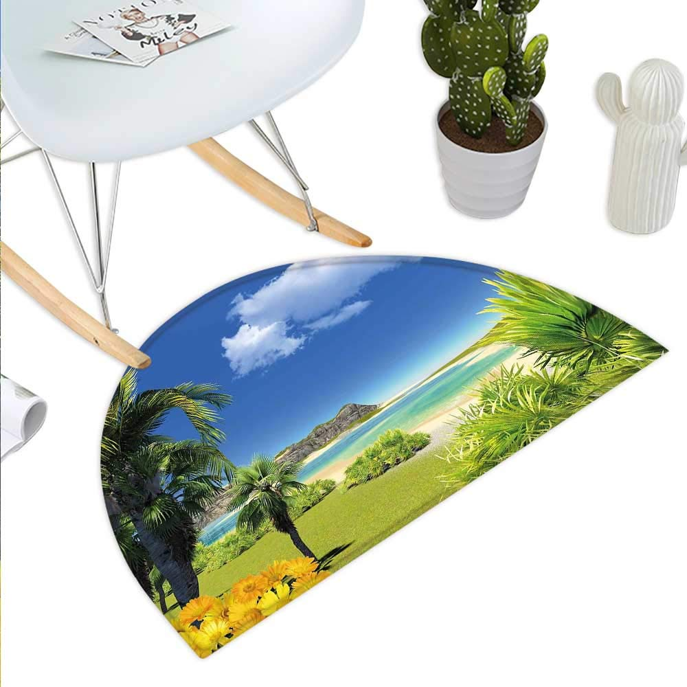 color07 H 27.5  xD 41.3  Tropical Semicircle Doormat Retro Style Grunge Hawaiian Composition with Flamingo Silhouette and Palm Trees Halfmoon doormats H 27.5  xD 41.3  Multicolor