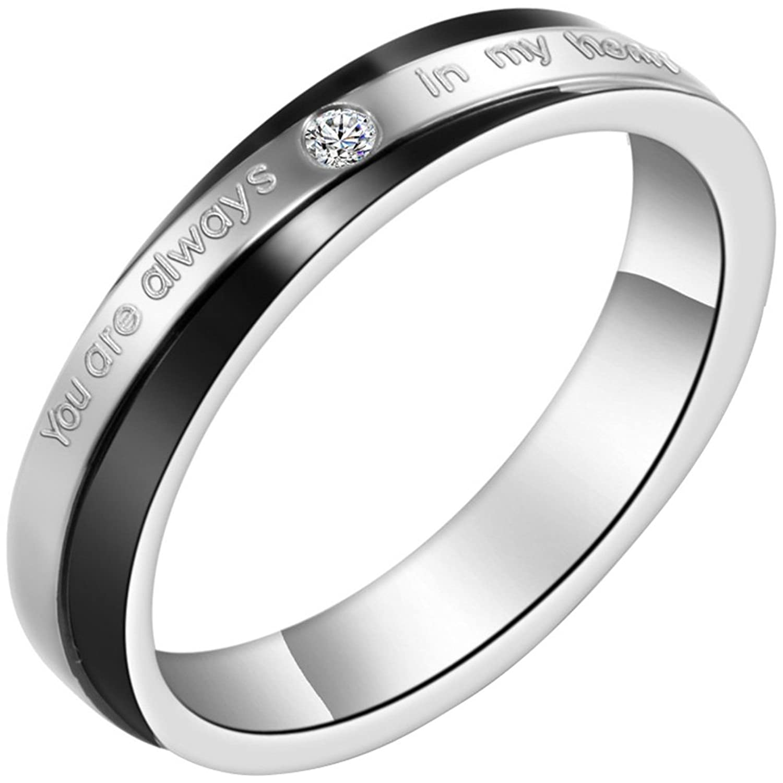 Freundschaftsringe silber schwarz  JewelryWe Schmuck 1 Paar Edelstahl Partnerringe,