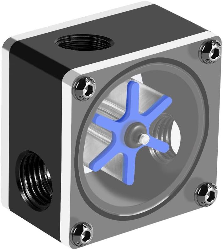G1 // 4 Hilo 6 Impulsor Indicador de medidor de flujo de 3 v/ías para sistema de enfriamiento de agua de PC h Indicador de flujo observe la velocidad y los estados de funcionamiento del flujo de agua