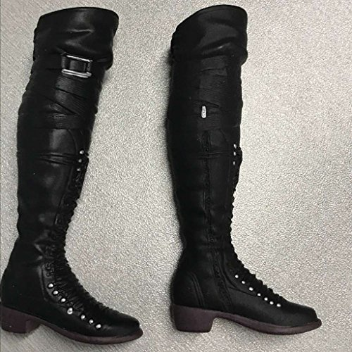 MagiDeal 2Pairs 1/6 Scale Female Lace Up High Top Long Boots Shoes for 12