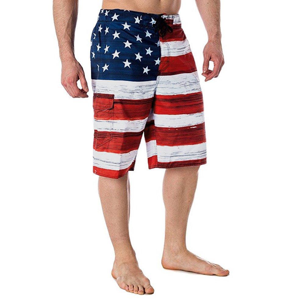 SSYUNO Men American Flag Print Inspired Board Denim Shorts Pants with Pocket Swim Short Trunk
