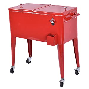 Giantex 80 Quart Patio Rolling Cooler Cart Ice Beer Beverage Chest Party Portable with Wheels, Red