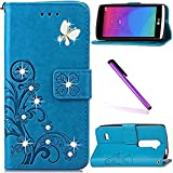 LG Leon 4G C40 Case LEECOCO Bling Crystal Diamonds Lucky Clover Floral with Card Cash Slots Wrist Strap Flip Kicktand PU Leather Wallet Case Cover for LG Leon 4G LTE H340N Diamond Clover Blue