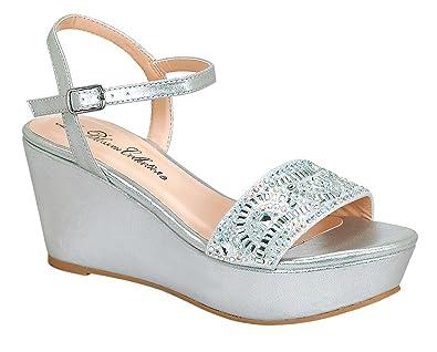 De Blossom Collection Women s Ori-3 Sparkle Rhinestone Ankle Strap Dress  Platform Wedge Sandals Silver 89dd6a7e7f