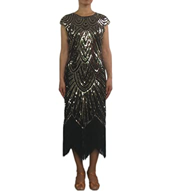 Whitewed Fringe Crystal Beads 1920s 20s Flapper Themed Party Dresses Wear  Outfit Costumes Black Gold 24fa7adb4edd