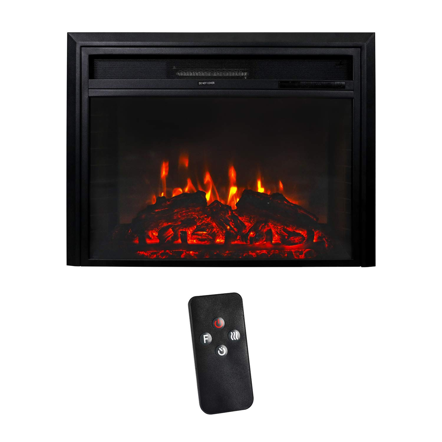 Peachtree 28 Inches Electric Fireplace Wall Recessed Heater Remote Control, Log Sets, 750 1500W, Black