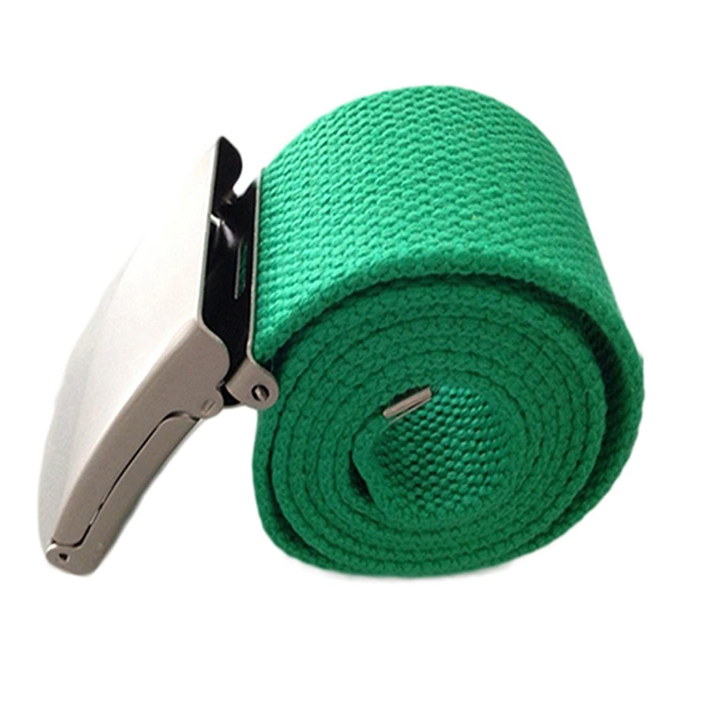 Sanwood Unisex Plain Webbing Canvas Metal Buckle Belt 11 Colors (Green)