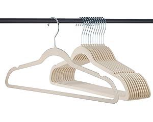 Home-it 319 Premium Velvet Heavy duty-50 Pack Non Slip Suit Clothes Hanger Hook Swivel 360-Ultra Thin, Ivory