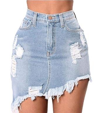 dahuo - Mini Falda de Jean de Cintura Alta con Dobladillo ...