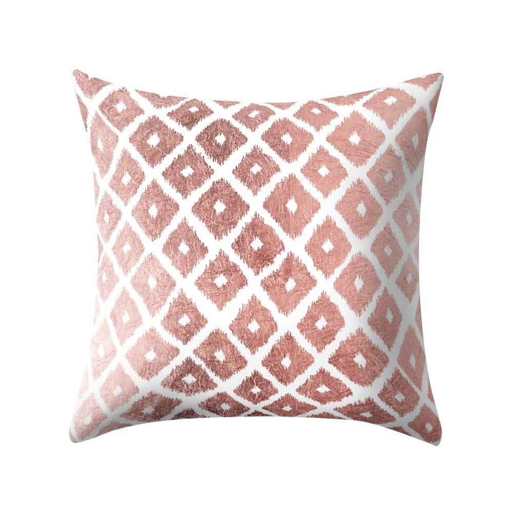 Clearance Sale! Pillow Cases Decoration Rose Gold Pink Sofa Car Waist Throw Square Cushion Cover Home by TAGGMY 45cmx45cm