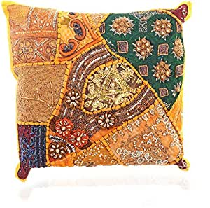 Traditional Design Handcrafted Sequins & Beads Cushion Cover (Yellow)