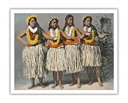 - Pacifica Island Art Hawaiian Hula Dancers - Vintage Hawaiian Color Postcard c.1880s - Hawaiian Fine Art Print - 11in x 14in