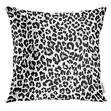 Emvency Throw Pillow Cover Black Cheetah Snow Leopard Jaguar White Black Spot Leather Decorative Pillow Case Home Decor Square 20x20 Inches Pillowcase