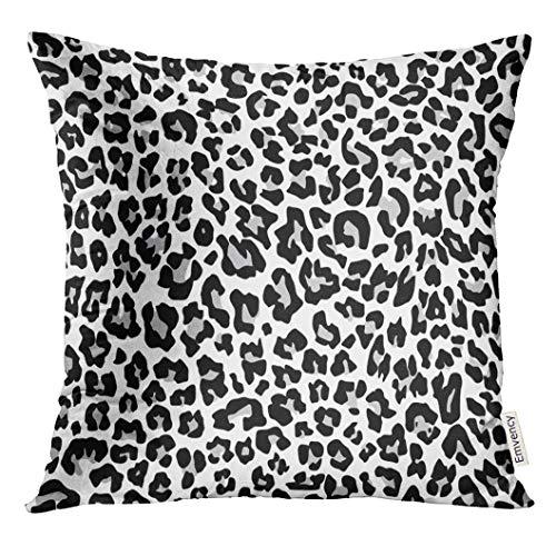 VANMI Throw Pillow Cover Black Cheetah Snow Leopard Jaguar White Black Spot Leather Decorative Pillow Case Home Decor Square 20x20 Inches Pillowcase