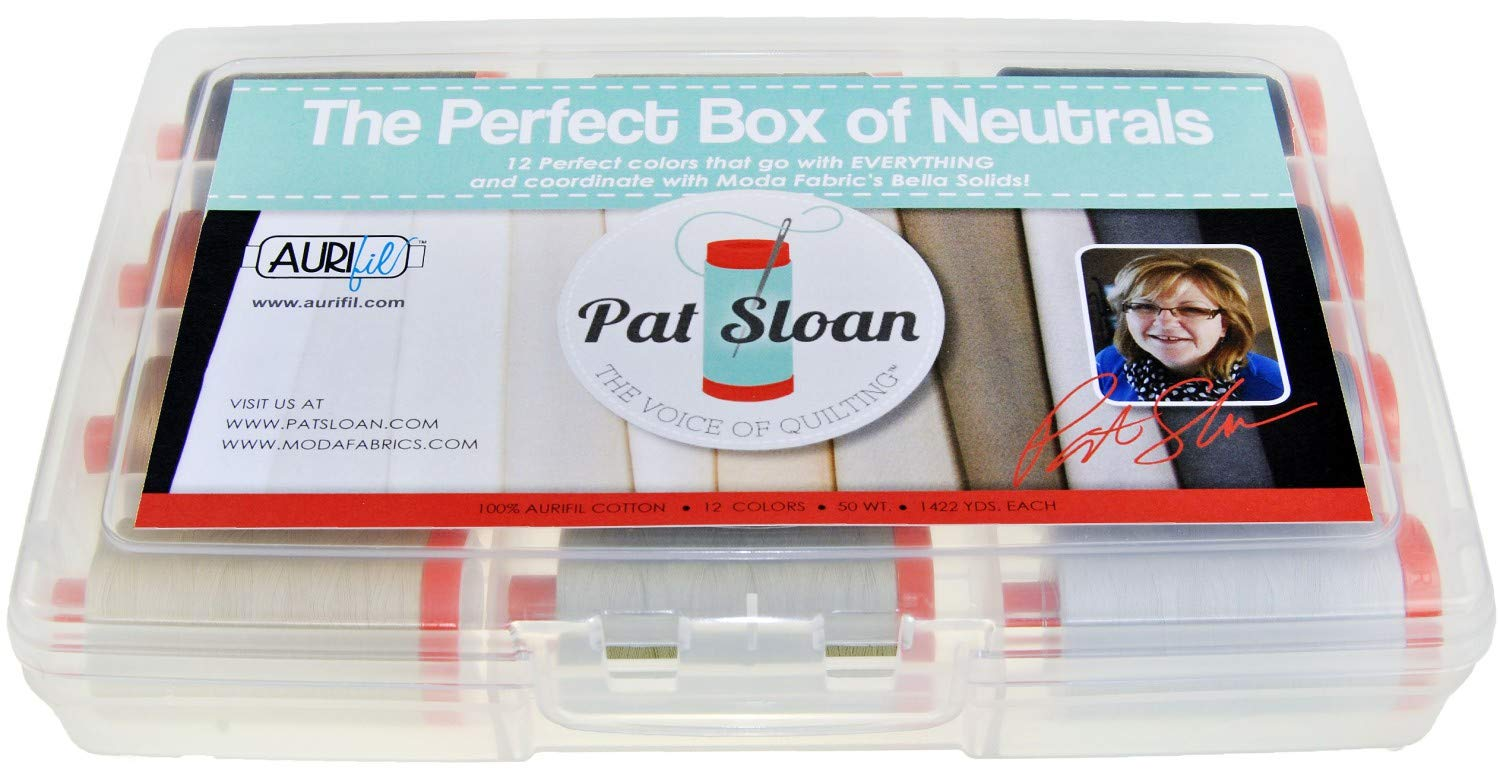 Aurifil Thread Set THE PERFECT BOX OF NEUTRALS By Pat Sloan 50wt Cotton 12 Large (1422 yard) Spools PSNB5012
