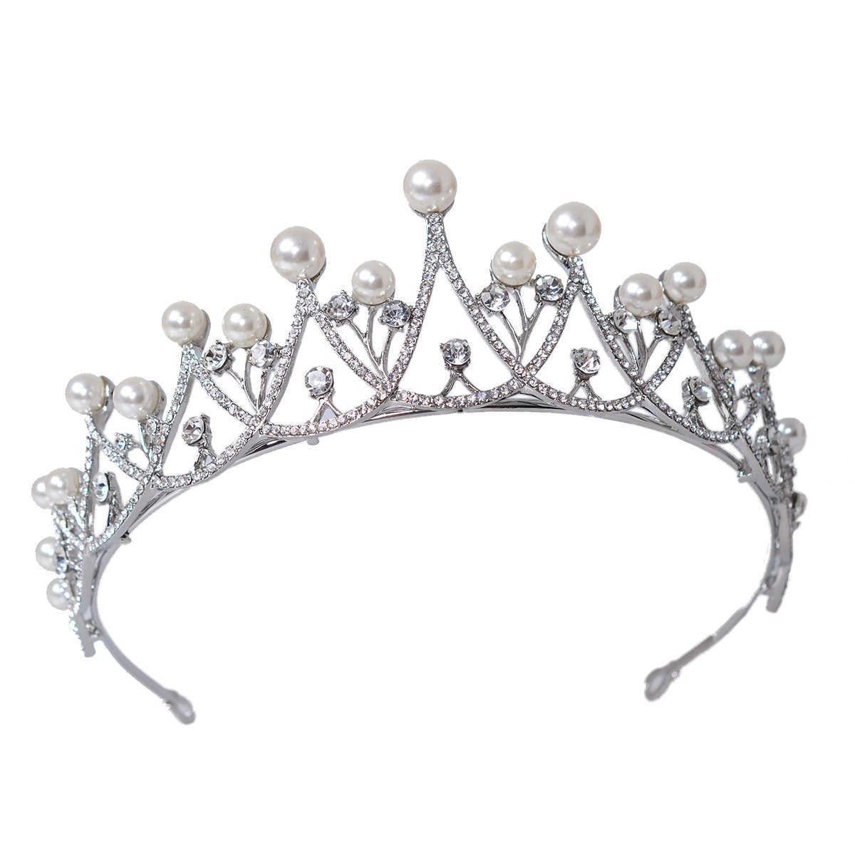 Eseres Pearl Wedding Tiara for Women Crystal Rhinestones Crown Silver Plated