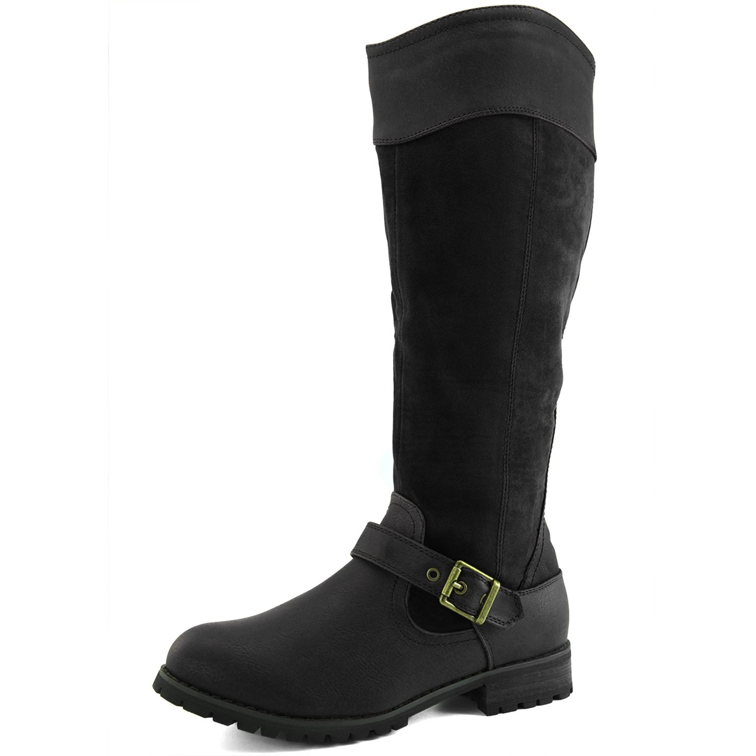 DailyShoes Women's Knee High Ankle Buckle Strap Military Combat Boots, 9 B(M) US Black SV