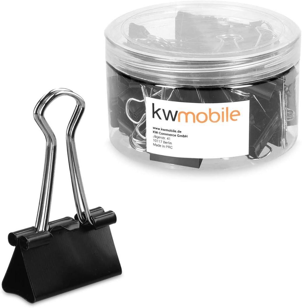 kwmobile Set de 50 Clips para la oficina casa escuela - Pinzas para papel de metal - 25MM - Negro