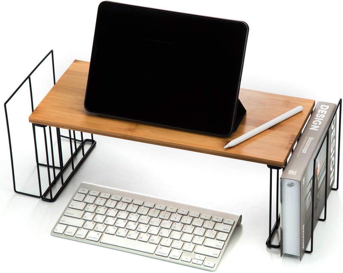 J JACKCUBE DESIGN Wood Monitor Stand and Computer Desk Organizer with 2 Storage Pocket Laptop Holder Office Table Supplies Vertical Mount Holder - MK531A