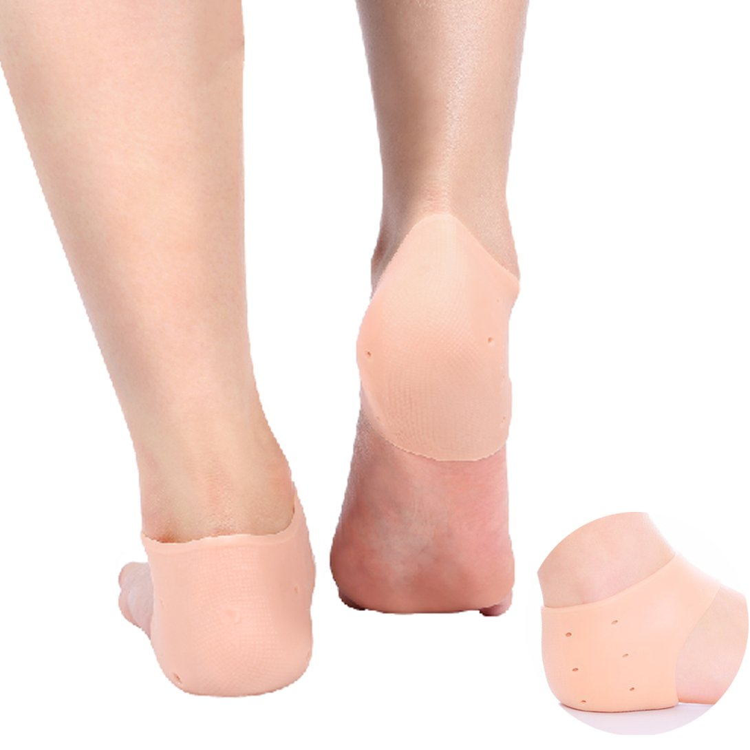 2 Pair Silicone Moisturizing Gel Heel Protector Sleeve Plantar Fasciitis Foot Cracked Care Cushion Ankle Pain Relief Breathable Arch Socks (Milky white with hole) ZJchao