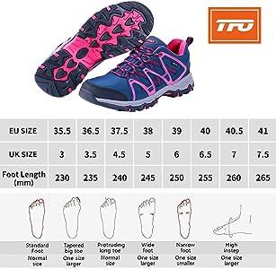 Zapatillas de Senderismo para Mujer Talla 36.5 EU TFO con Suela amortiguada Color Rojo Transpirables