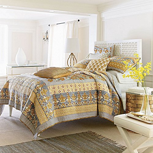 Tache 3 Piece Gilded Garden Cotton Floral Gold Reversible Quilt Bedspread Set, King - Garden Quilt Set