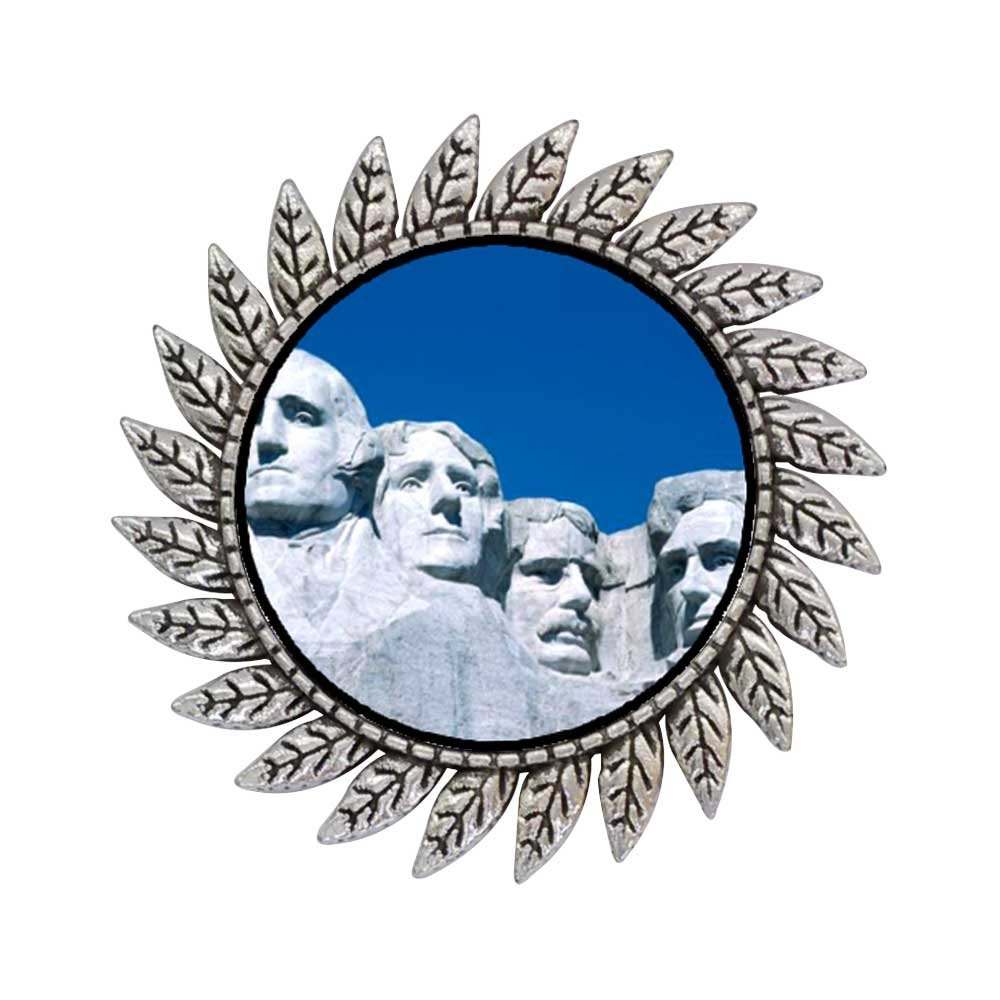 GiftJewelryShop Ancient Style Silver Plate Travel Mount Rushmore Hot Style Gear Round Pin Brooch