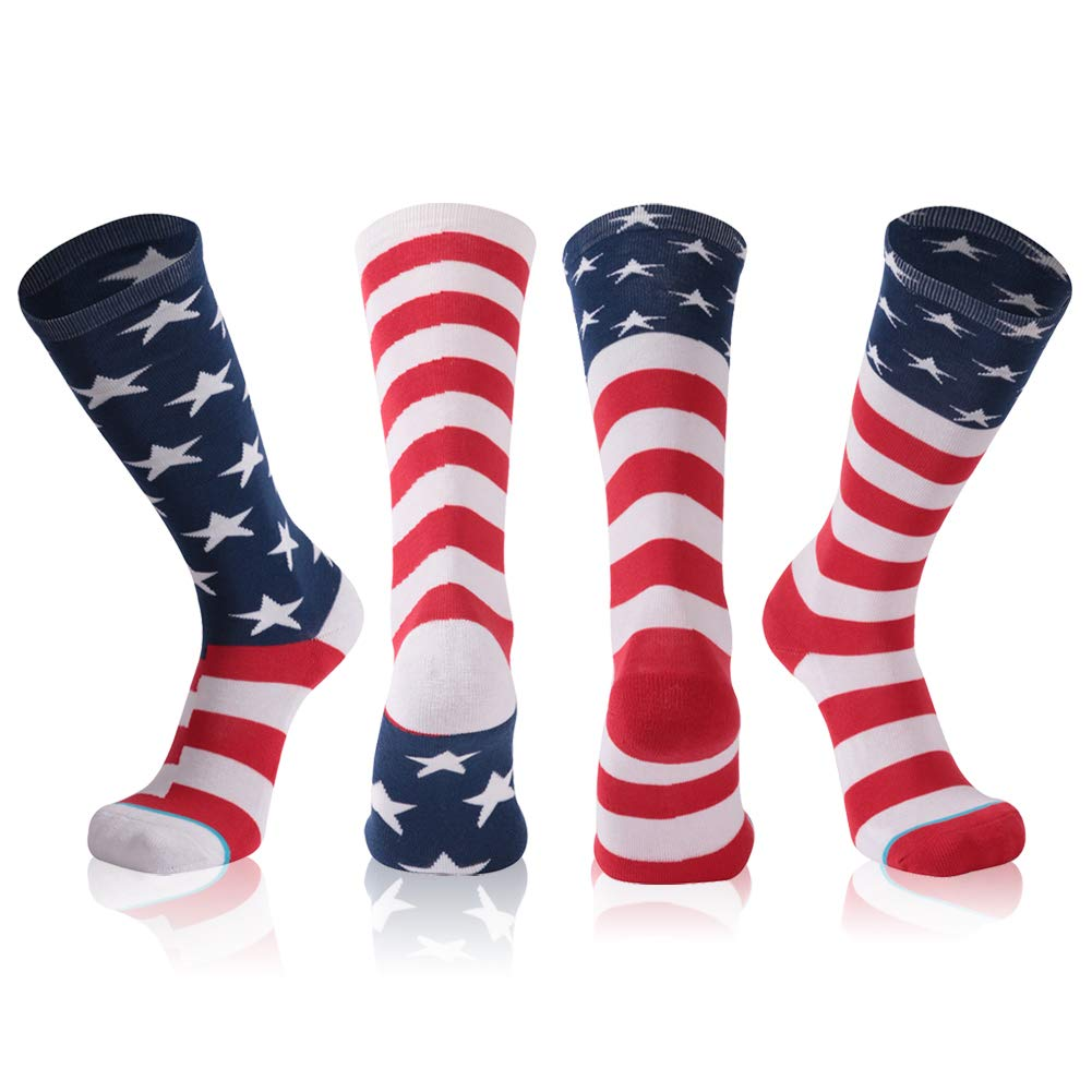 American Flag Socks, Gmark Women's Red, White, and Blue Patriotic Fitness Novelty Socks 2-Pair Size Large