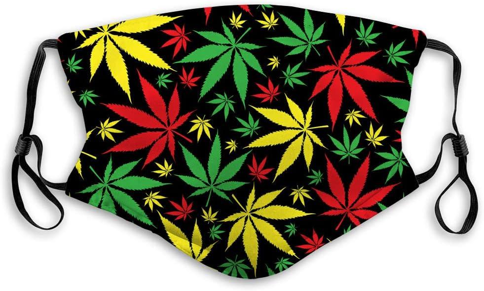 NYNELSONG - Bandana de cuello para adultos, lavable, reutilizable, diseño de cannabis jamaicano