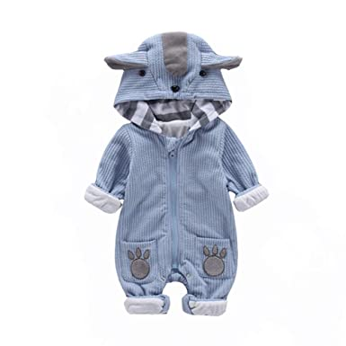 f7c4bb593 Amazon.com  AIKSSOO Infant Baby Boy Girl Cartoon Romper Outfit Hood ...