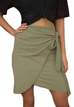 Faldas Mujer Verano Elegantes Vintage Colores Sólidos Falda De ...