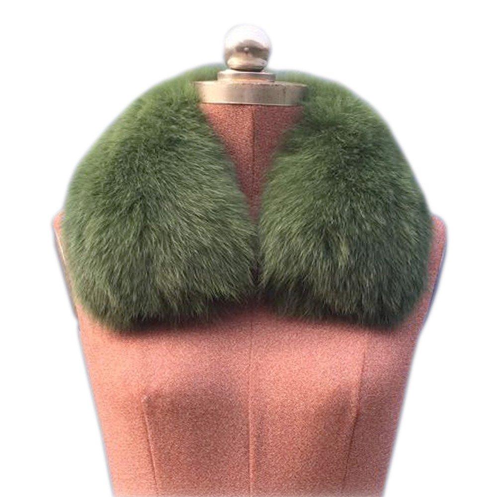 Gegefur Women's Genuine Short Fox Fur Collar Scarf Wrap Shawl Warmer (50cm, green)