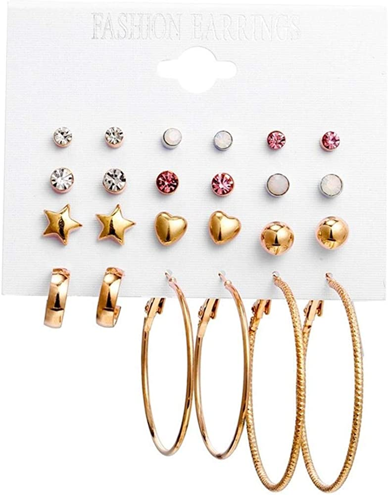 Pendientes Mujer Pendientes Ear Cuff Roca exagerada círculo oreja 12 conjuntos de pendientes adaptarse combinación pendientes de cristal embutido