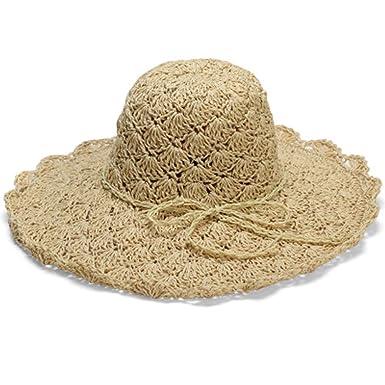 8753b99ba Amazon.com: ANJUY Women Floppy Hat Hollow Straw Hat Wide Brim Beach ...