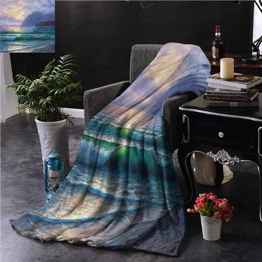 Nature Teal Throw Blanket Ocean Morning Mountain Bedroom Dorm Sofa Baby Cot Beach W50 xL60