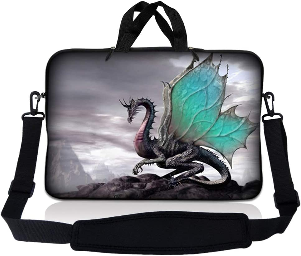 LSS 15.6 inch Laptop Sleeve Bag Compatible with Acer, Asus, Dell, HP, Sony, MacBook and more | Carrying Case Pouch w/ Handle & Adjustable Shoulder Strap ,Flying Dragon