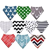 Baby Bibs,Baby Bandana Bibs,10 Pack Gift Set for Drooling and Teething,100% Organic Cotton,Super Absorbent and Soft for Boys and Girls