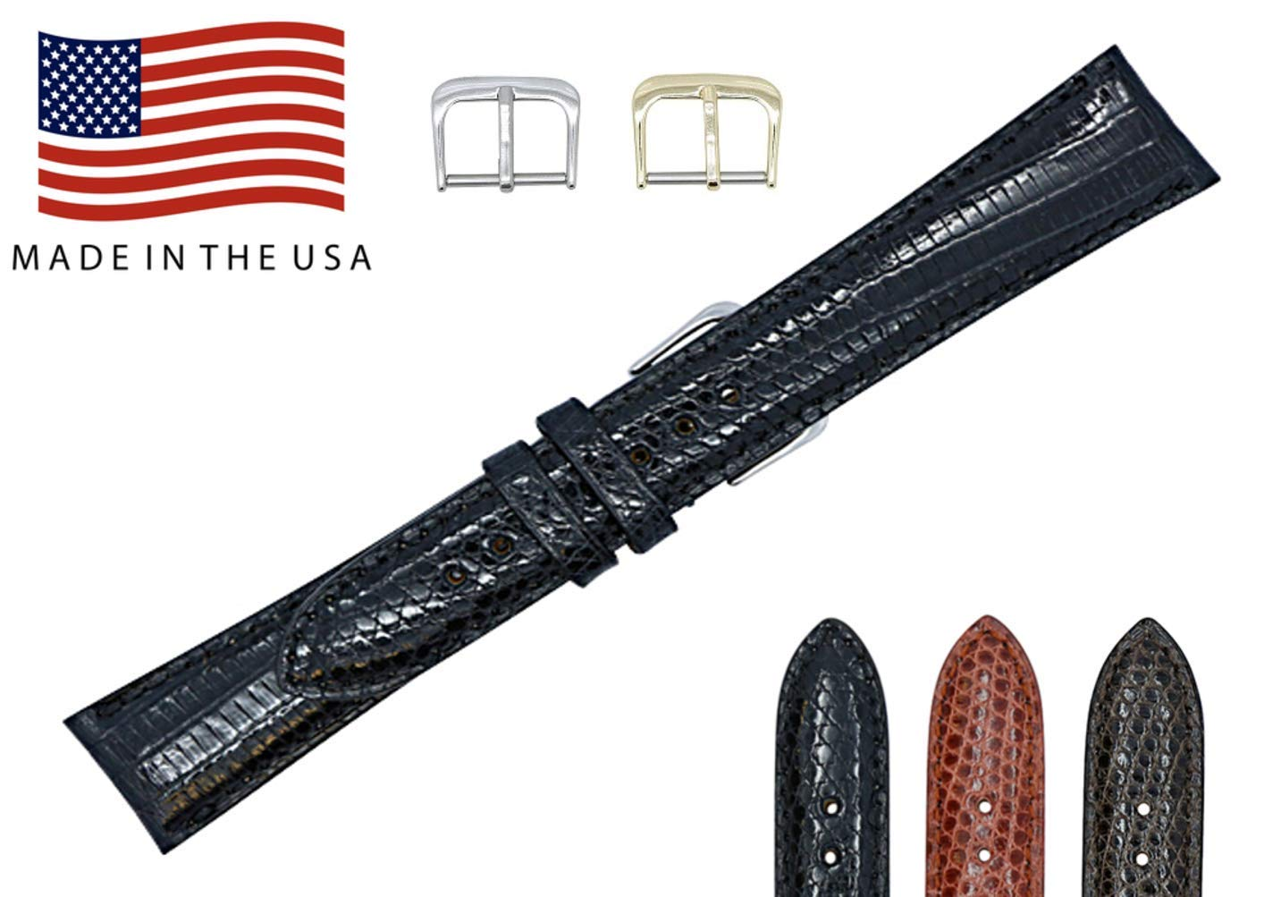 18mm Black Genuine Lizard - Padded Sewn Watch Strap Band - Gold & Silver Buckles Included – Factory Direct - Made in USA by Real Leather Creations FBA146