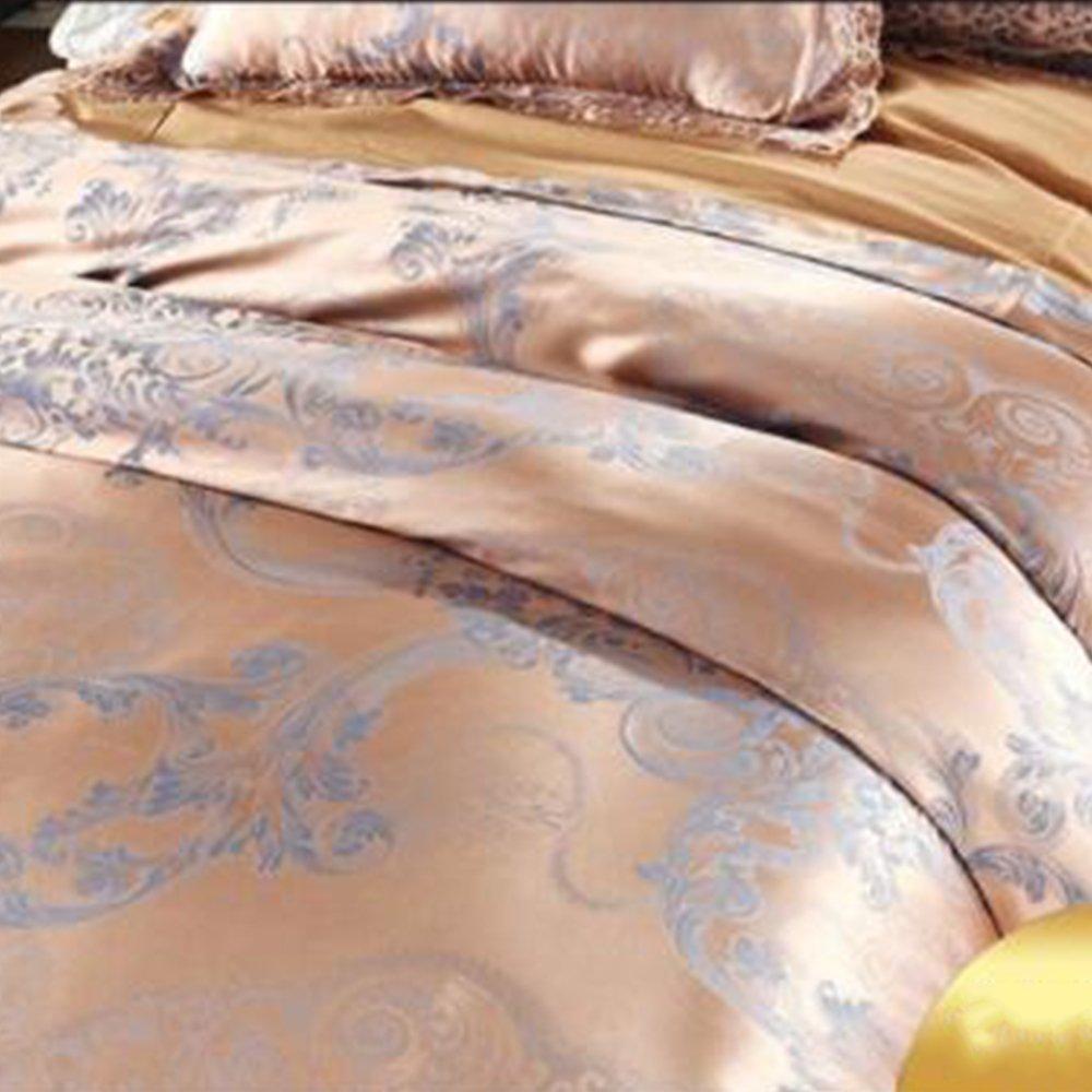 6.6inch Nclon Stile europeo Seta Jacquard Raso Di cotone Set copripiumino,Una famiglia di quattro 200 230cm Set di biancheria da letto Di cotone Copripiumino Biancheria da letto Federe Lusso-T 2.0m 220*240cm