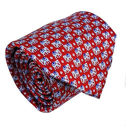 Mens ties silk Necktie men Neck Tie gift boxes luxury red blue elephant by Qobod (ST100)