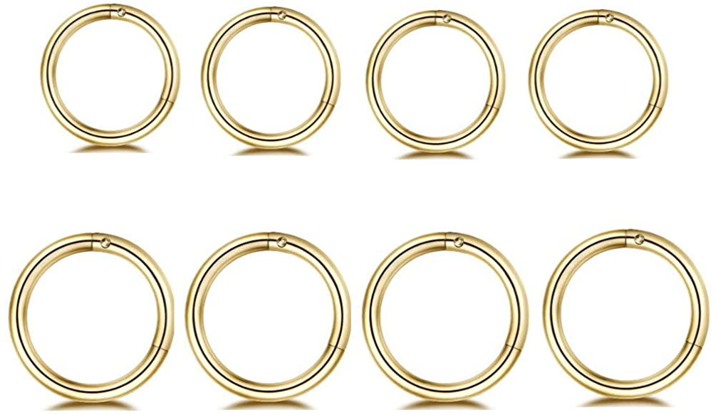 NewZenro 8Pcs Surgical Stainless Steel 16G Sleeper Cartilage Daith Tiny Small Hoop Earrings Septum Hinged Clicker Nose Ring for Women Men Helix Tragus Piercings Jewelry 8mm 10mm Set Gold